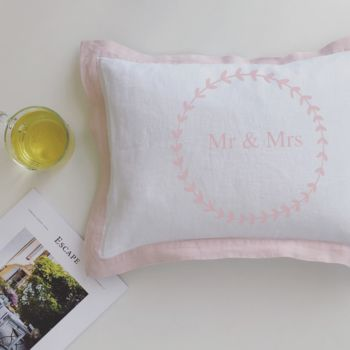 Mr And Mrs Cushion In Floral Wreath With French Border