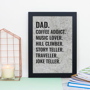 Personalised Concrete List Print - typography