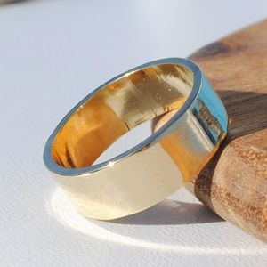 9ct Yellow Gold Wide Flat Wedding Band - rings