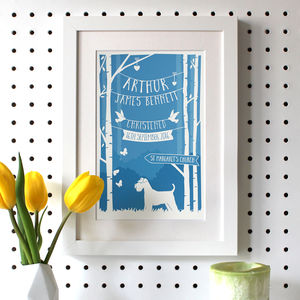 Personalised Christening/Baptism Print With Dog - new in baby & child
