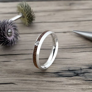Native Oval Diamond Wood Ring - rings
