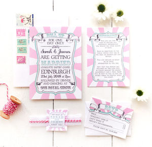 Pink Circus Stripe Wedding Invitation Set - invitations
