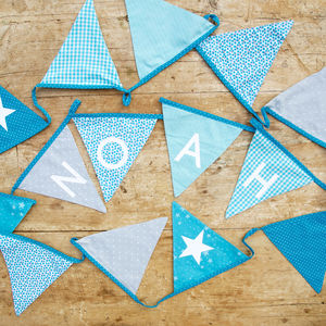Personalised Blue Bunting - ornaments