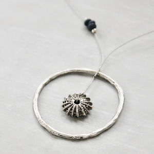 Sea Urchin In A Circle Pendant Necklace