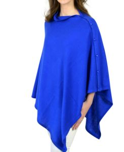 Royal Blue Cashmere Blend Button Poncho In Gift Box