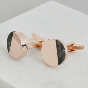 Half Moon Marble Personalised Solid Disc Cufflinks
