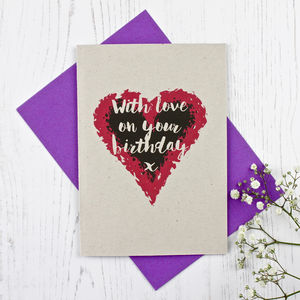 Heart Themed Birthday Card - summer sale