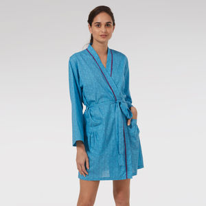 Short Cotton Robe In Blue Mini Orchid - bath robes