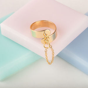 Adjustable Ring With Hanging Chain - party wear & accessories