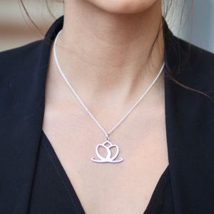 Good Luck Sterling Silver Lotus Flower Charm Necklace