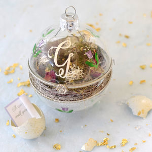 Personalised Christmas Real Egg Glass Bauble