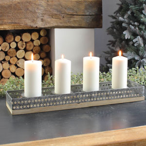 Grey Star Candle Holder Centrepiece