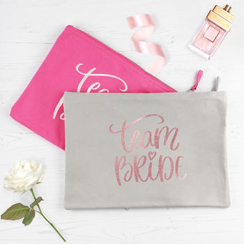 Team Bride Rose Gold Wedding Make Up Wash Bag