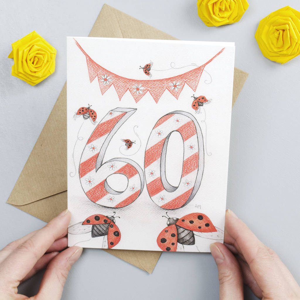 Happy 60th Birthday Greeting Card Ladybirds By Yellow Rose Design