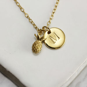 Mini Pineapple And Initial Necklace - wedding jewellery