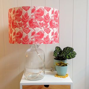Bullfinches And Berries Lampshade Block Printed By Hand - lampshades