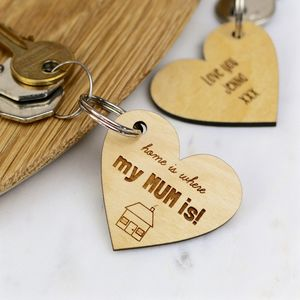 Home Is Where My Mum Is Key Ring - personalised mother's day gifts