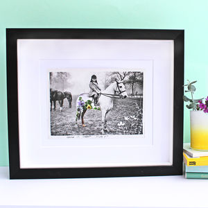 Horse Photographic Handcut Black And White Art - mixed media & collage