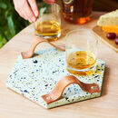 Hexagon Terrazzo Tray With Leather Handles