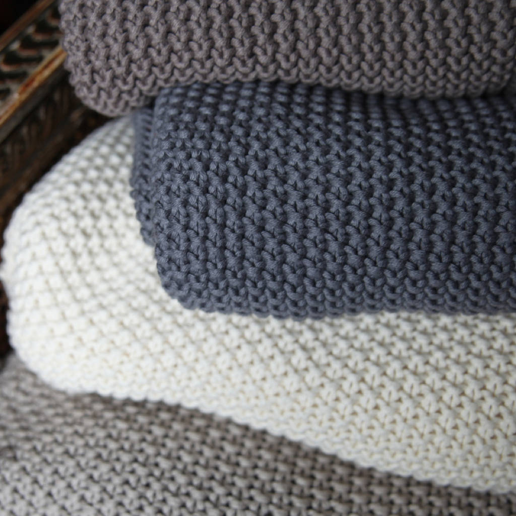 Hand Knitted Moss Stitch Throw