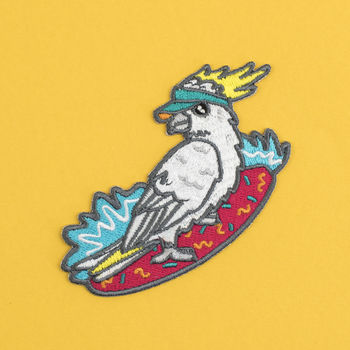 Surfing Cockatoo Iron On Embroidered Patch
