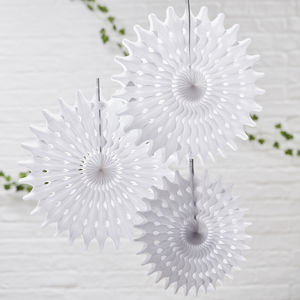 White Tissue Paper Hanging Fan Wedding Decorations - decoration