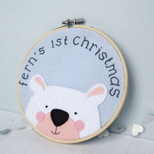 1st Christmas Embroidered Hoop - christmas decorations