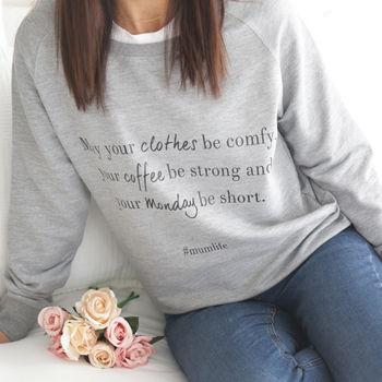 Women's 'Monday' Mum Life Slogan Sweatshirt