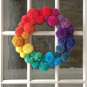 Rainbow Pom Pom Wreath - wreaths