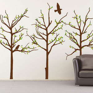 Trees With Leaves And Birds Wall Stickers