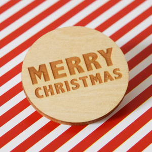 Merry Christmas Engraved Wooden Badge
