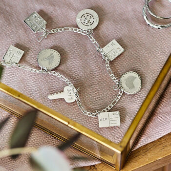 Personalised Sterling Silver Travel Charm Bracelet
