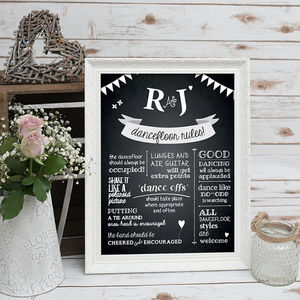 Dance Floor Rules Chalkboard Print - room signs