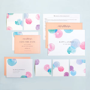 Modern Watercolour Wedding Stationery Complete Suite - invitations