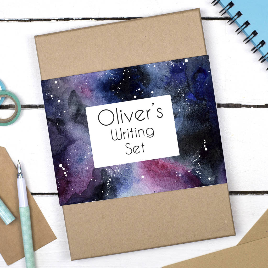 Personalised Galaxy Watercolour Writing Set personalised galaxy