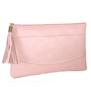 Smooth Leather Clutch In Pale Pink
