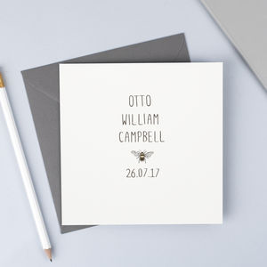 Personalised New Baby Card Featuring Their Full Name - gifts