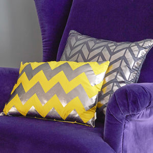 Metallic Chevron Rectangular Silk Cushion