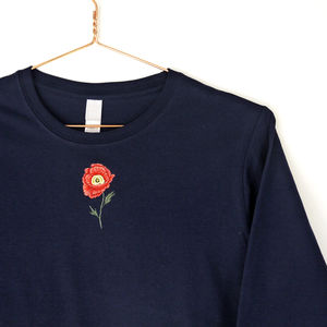 Embroidered Poppy Navy Long Sleeved Top Handmade