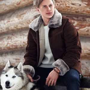 Mens Aviator Sheepskin Coat - men's fashion