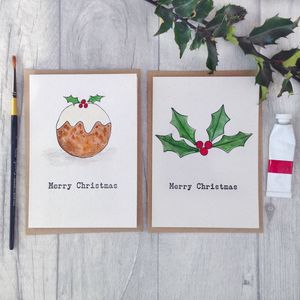 Hand Painted, Letterpress Christmas Cards, Pack Of Six