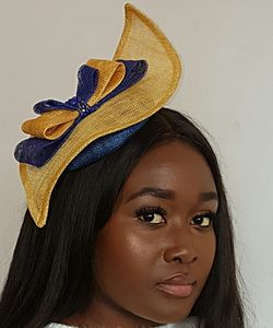 Blue And Yellow Sinamay Hat - hats & fascinators