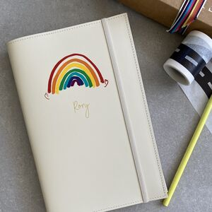 Personalised Refillable A5 Rainbow Leather Notebook