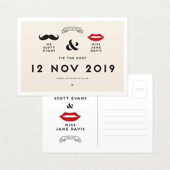 Retro Style Save The Date Wedding Postcard
