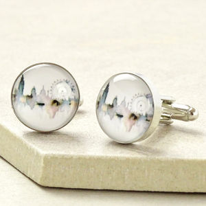 London City Scene Watercolour Cufflinks - men's accessories