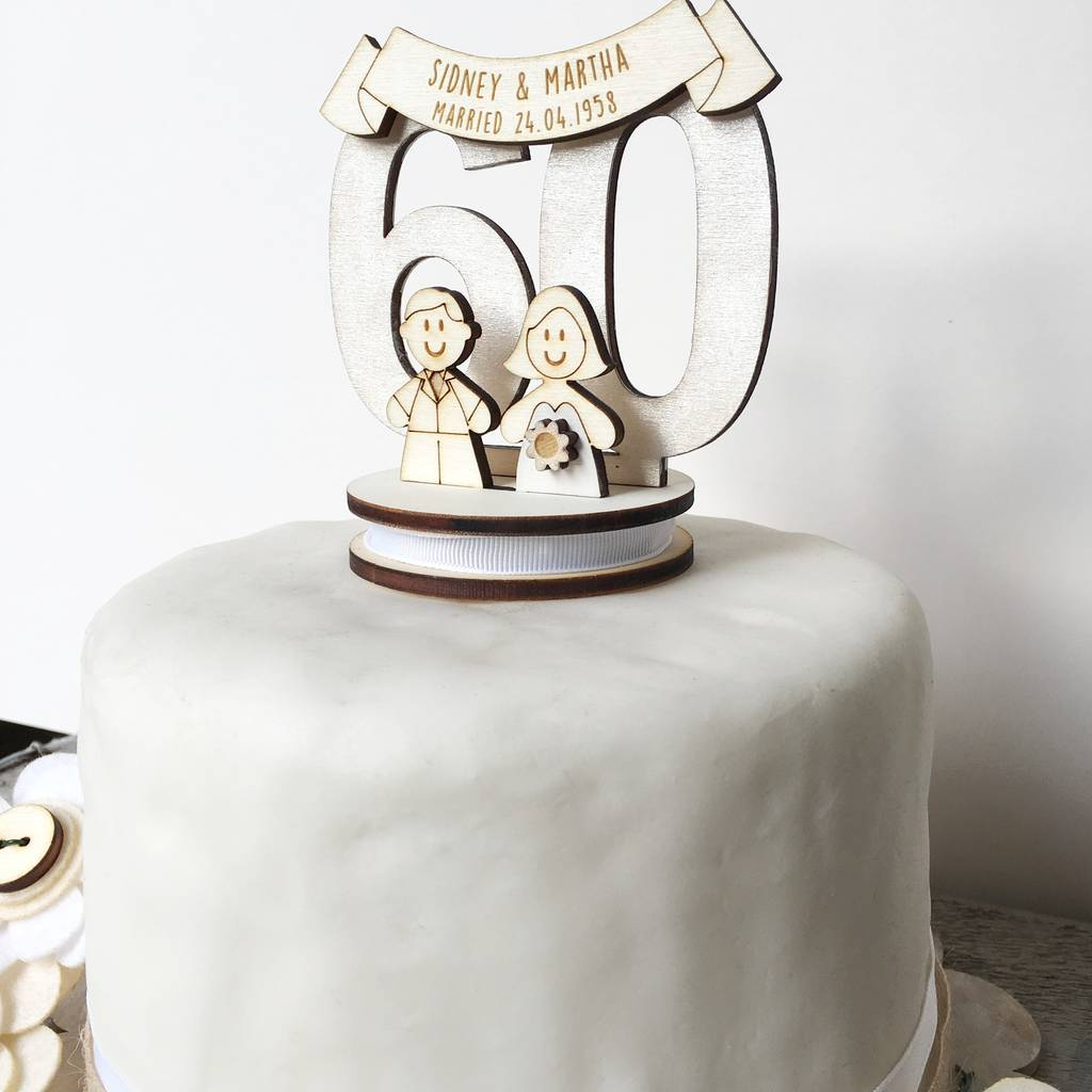 personalised 60th wedding anniversary cake topper by just toppers ...