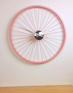 Pastel Pink Bike Wheel Clock 57cm - what's new