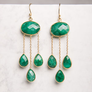 Emerald Gold Long Teardrop Earrings - earrings
