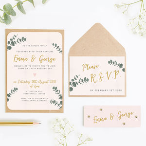 Leafy Blush Wedding Invitation Bundle - invitations