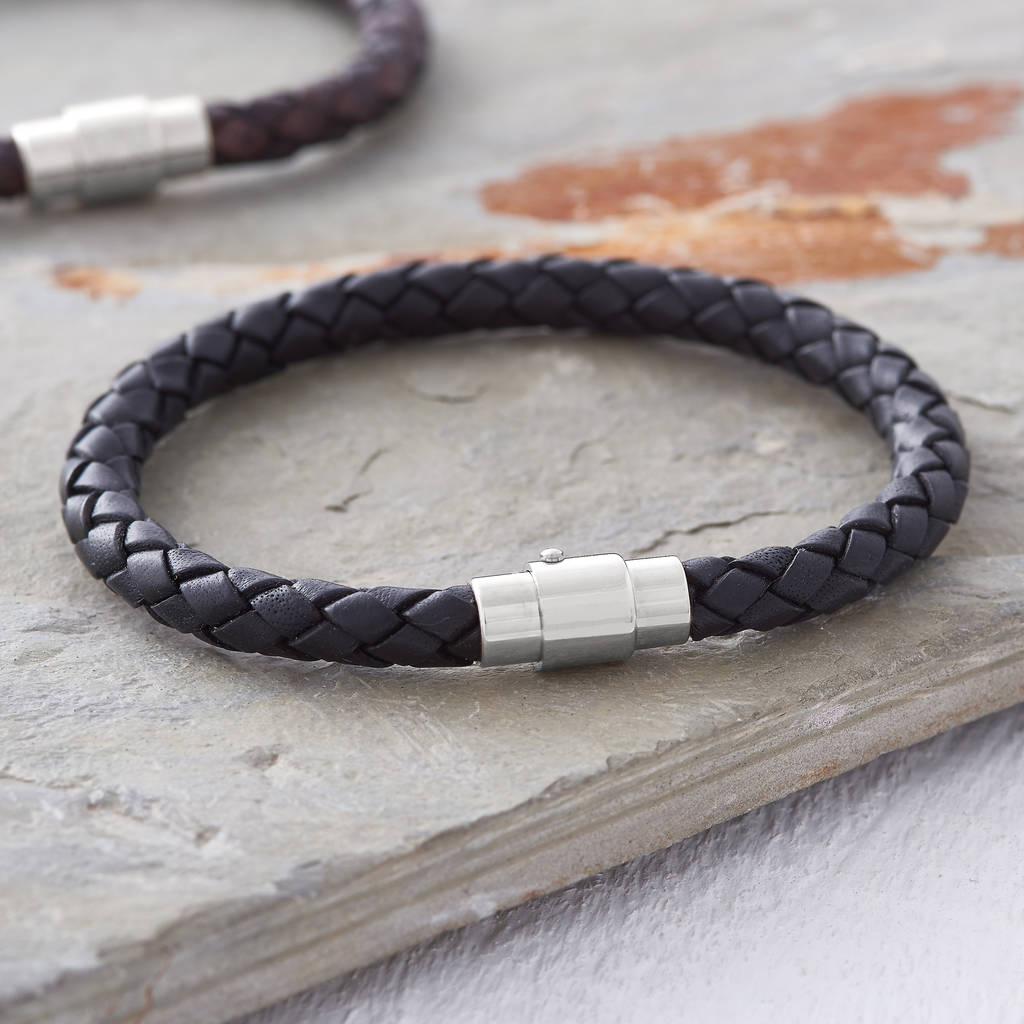 Men S Plaited Leather Bracelet